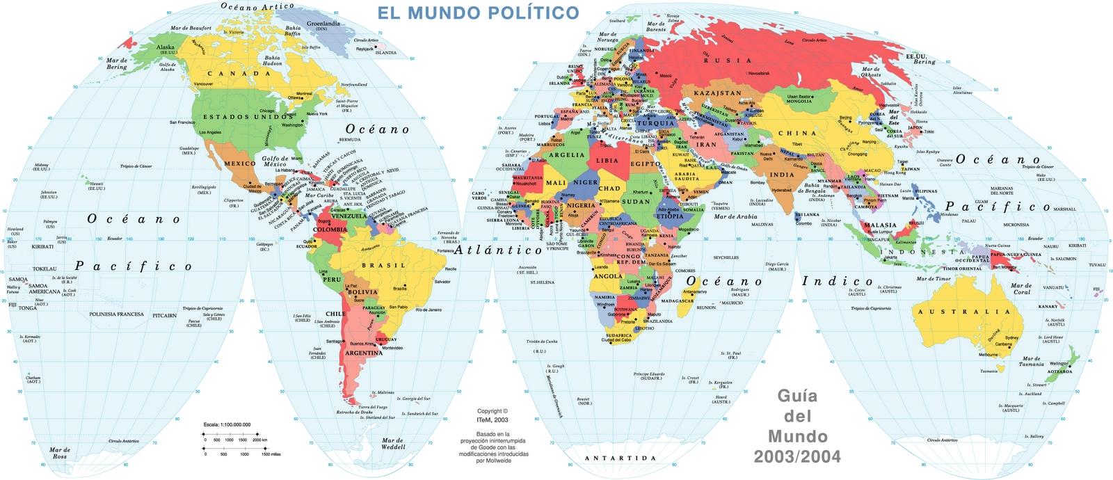 Mapa Planisferio con División Política para imprimir