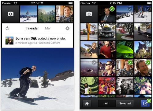 aplicacion facebook camera para subir fotos