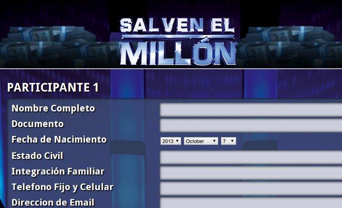 formulario salven el millon 2013